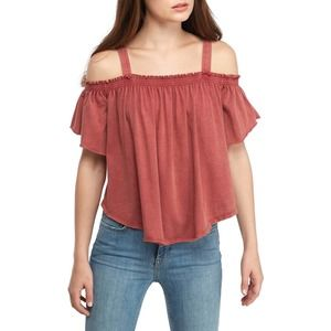 FREE PEOPLE NEW Cold Shoulder Distressed Top Large